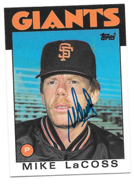 Mike Lacoss Signed 1986 Topps Baseball Card - San Francisco Giants