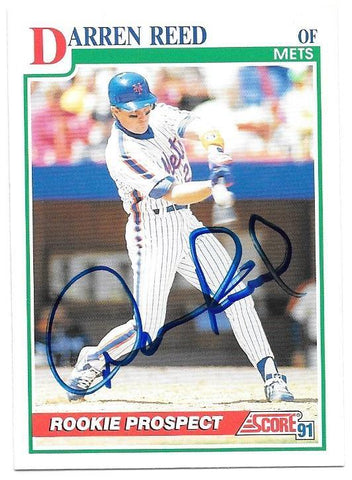 Darren Reed Signed 1991 Score Baseball Card - New York Mets