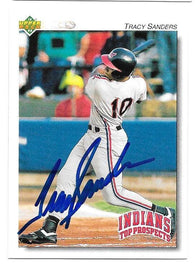 Tracy Sanders Signed 1992 Upper Deck Minors Baseball Card - Cleveland Indians