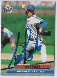 Tim Burke Signed 1992 Fleer Ultra Baseball Card - New York Mets