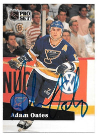Adam Oates Signed 1991-92 Pro Set Hockey Card - St Louis Blues