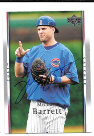 Michael Barrett Signed 2007 Upper Deck Baseball Card - Chicago Cubs - PastPros