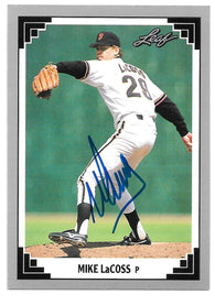 Mike LaCoss Signed 1991 Leaf Baseball Card - San Francisco Giants