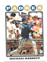 Michael Barrett Signed 2008 Topps Baseball Card - San Diego Padres - PastPros