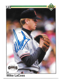 Mike LaCoss Signed 1990 Upper Deck Baseball Card - San Francisco Giants
