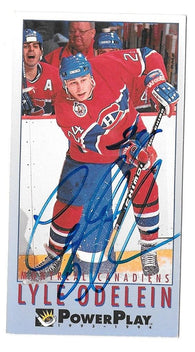 Lyle Odelein Signed 1993-94 Fleer PowerPlay Hockey Card - Montreal Canadiens - PastPros