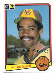 Luis DeLeon Signed 1983 Donruss Baseball Card - San Diego Padres