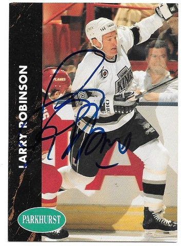 Larry Robinson Signed 1991-92 Parkhurst Hockey Card - Los Angeles Kings
