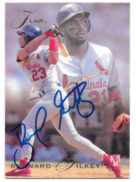 Bernard Gilkey Signed 1993 Flair Baseball Card - St Louis Cardinals