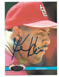 Ken Hill Signed 1991 Topps Stadium Baseball Card - St Louis Cardinals - PastPros