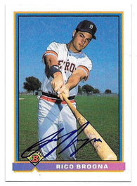 Rico Brogna Signed 1991 Bowman Baseball Card - Detroit Tigers