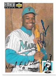 Nigel Wilson Signed 1994 Collector's Choice Silver Signature Baseball Card - Florida Marlins