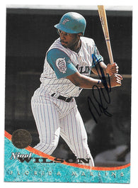Nigel Wilson Signed 1994 Leaf Baseball Card - Florida Marlins
