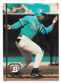 Nigel Wilson Signed 1994 Bowman Baseball Card - Florida Marlins