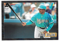 Nigel Wilson Signed 1993 Bowman Baseball Card - Florida Marlins