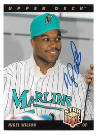 Nigel Wilson Signed 1993 Upper Deck Star Rookie Baseball Card - Florida Marlins