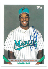 Nigel Wilson Signed 1993 Topps Baseball Card - Florida Marlins