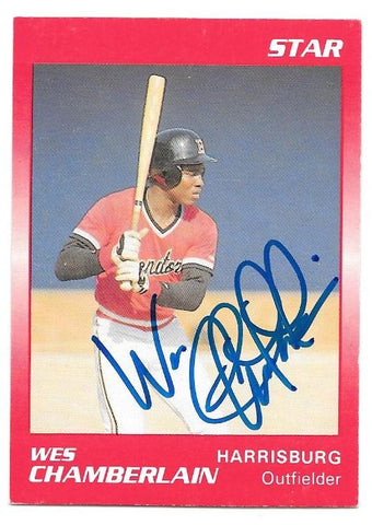 Wes Chamberlain Signed 1989 Star Baseball Card - Harrisburg Senators - PastPros