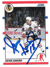 Denis Savard Signed 1990-91 Score Hockey Card - Chicago Blackhawks