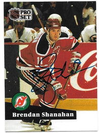 Brendan Shanahan Signed 1991-92 Pro Set Hockey Card - New Jersey Devils