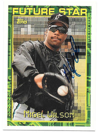 Nigel Wilson Signed 1994 Topps Baseball Card - Florida Marlins