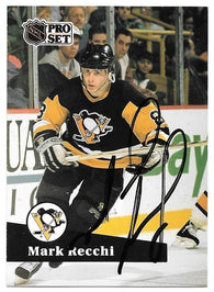 Mark Recchi Signed 1991-92 Pro Set Hockey Card - Pittsburgh Penguins