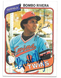 Bombo Rivera Signed 1980 Topps Baseball Card - Minnesota Twins