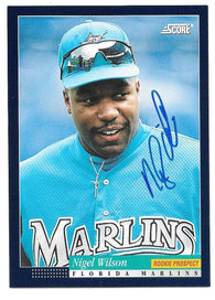 Nigel Wilson Signed 1994 Score Baseball Card - Florida Marlins