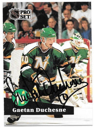 Gaetan Duchesne Signed 1991-92 Pro Set Hockey Card - Minnesota North Stars