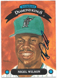 Nigel Wilson Signed 1993 Donruss Diamond Kings Baseball Card - Florida Marlins
