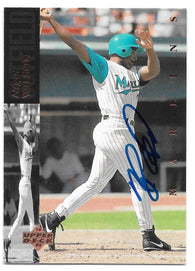 Nigel Wilson Signed 1994 Upper Deck Baseball Card - Florida Marlins