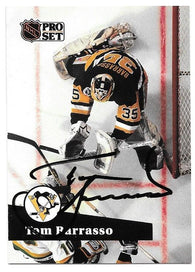 Tom Barrasso Signed 1991-92 Pro Set Hockey Card - Pittsburgh Penguins