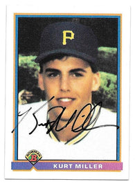Kurt Miller Signed 1991 Bowman Baseball Card - Pittsburgh Pirates - PastPros