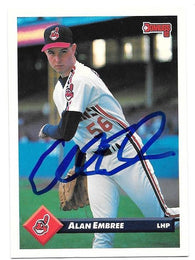 Alan Embree Signed 1993 Donruss Baseball Card - Cleveland Indians