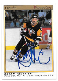Bryan Trottier Signed 1990-91 O-Pee-Chee Premier Hockey Card - Pittsburgh Pirates