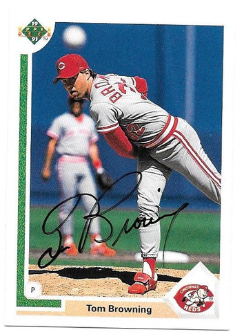 Tom Browning Signed 1991 Upper Deck Baseball Card - Cincinnati Reds - PastPros