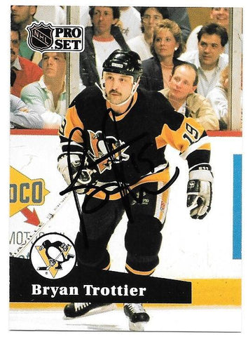 Bryan Trottier Signed 1991-92 Pro Set Hockey Card - Pittsburgh Penguins