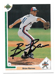 Brian Barnes Signed 1991 Upper Deck Baseball Card - Montreal Expos
