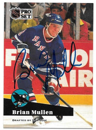 Brian Mullen Signed 1991-92 Pro Set Hockey Card - San Jose Sharks