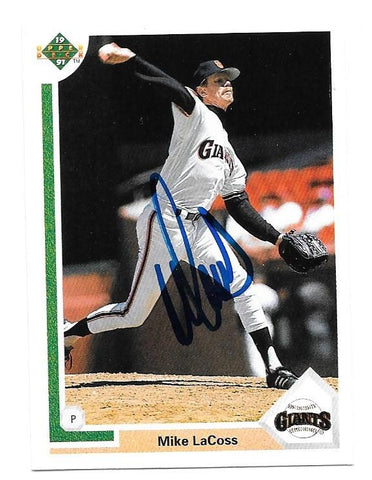 Mike LaCoss Signed 1991 Upper Deck Baseball Card - San Francisco Giants - PastPros