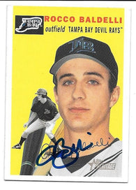 Rocco Baldelli Signed 2003 Topps Heritage Baseball Card - Tampa Bay Devil Rays - PastPros