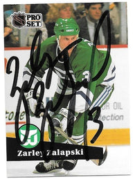 Zarley Zalapski Signed 1991-92 Pro Set Hockey Card - Hartford Whalers