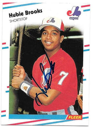 Hubie Brooks Signed 1988 Fleer Baseball Card - Montreal Expos