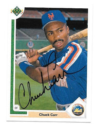 Chuck Carr Signed 1991 Upper Deck Baseball Card - New York Mets - PastPros