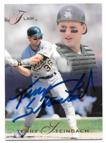 Terry Steinbach Signed 1993 Flair Baseball Card - Oakland A's - PastPros