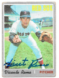 Vicente Romo Signed 1970 Topps Baseball Card - Boston Red Sox - PastPros