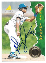 Garey Ingram Signed 1995 Pinnacle Baseball Card - Los Angeles Dodgers
