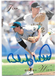 Bobby Witt Signed 1993 Flair Baseball Card - Oakland A's - PastPros