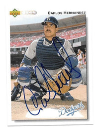 Carlos Hernandez Signed 1992 Upper Deck Baseball Card - Los Angeles Dodgers - PastPros