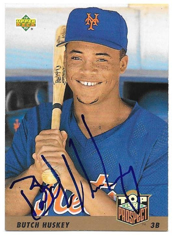 Butch Huskey Signed 1993 Upper Deck Baseball Card - New York Mets
